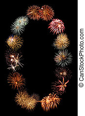Firework Bursts Arranged in to the Number Zero 0