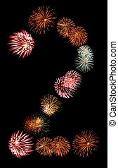 Firework Bursts Arranged in to the Number 2