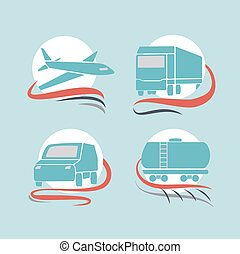 Transportation icons set. Vector illustration.