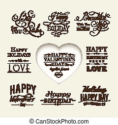 Set of happy valentine's day hand lettering.