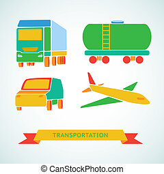 Traveling and transport flat icons.