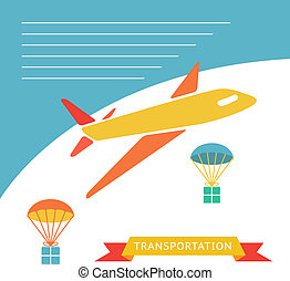 Cargo plane dropping boxes - Cargo plane dropping boxes with...