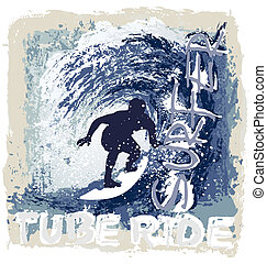 surfing tube ride - surfing vector illustration for shirt...