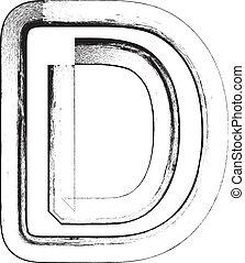 Grunge font Letter D