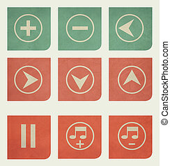 Flat design music buttons with grunge effect