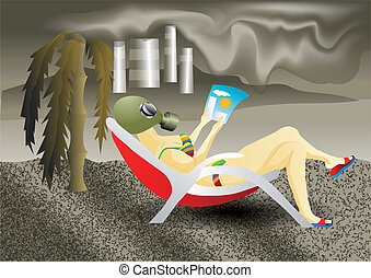 air pollution. woman sitting on the beach in a gas mask