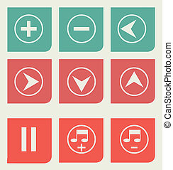 Flat design music buttons