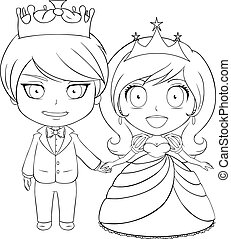 Prince and Princess Coloring Page 1 - Vector illustration...