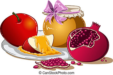 Honey Apple And Pomegranate For Rosh Hashanah - Vector...