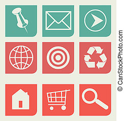 Flat web design icons set