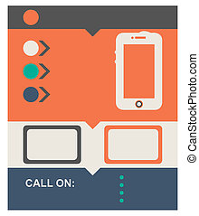 Flat design web page background with mobile telephone and...