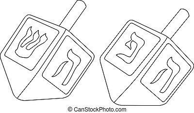 Hanukkah Dreidel Coloring Page - Vector illustration...