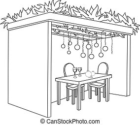 Sukkah For Sukkot With Table Coloring Page - A Vector...