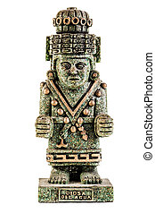 God of water - an ancient toltect statuette isolated over a...