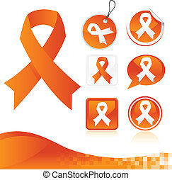 Orange Awareness Ribbons Kit - Set of orange awareness...