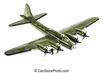 Bomber - model bomber plane isolated over a white background