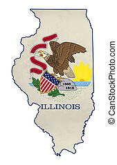 Grunge state of Illinois flag map