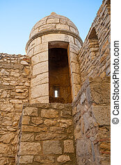 Morella in castellon Maestrazgo castle fort tower at Spain