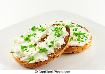 pequeno almoço, bagel, com, creme, queijo