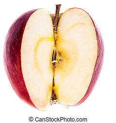 Apple core - a delicious ripe red apple without a quarter...