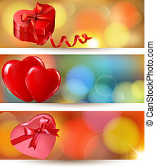 Set of beautiful valentine gift cards with red gift bows with ribbons.