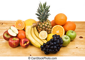 Fresh fruits - Fresh variety fruits from all seasons on a...