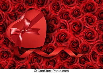 Heart-shaped gift box on rose background. Vector.
