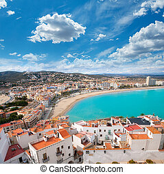 Peniscola beach and Village aerial view in Castellon Spain