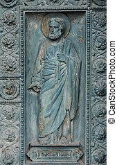 Saint Jude, detail of door of Saint Vincent de Paul church,...