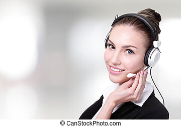 Business Woman customer service worker, call center smiling...