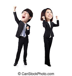 Excited business man and woman with arms raised in full...