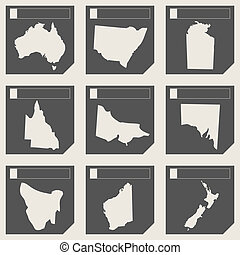Set of Australia map buttons