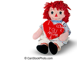 rag doll with red heart - Old rag doll with red heart for...
