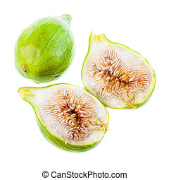 Ripe fig - ripe green figs isolated over a white background