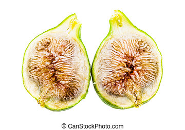 Sliced fig - ripe green figs isolated over a white...