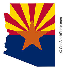 State of Arizona flag map isolated on a white background,...