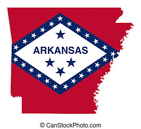 State of Arkansas flag map isolated on a white background,...