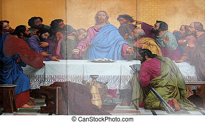 Last Supper - The Last Supper, painting on the facade, Saint...