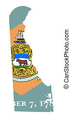 State of Delaware flag map isolated on a white background,...