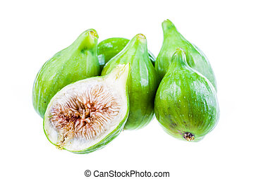 Some figs - ripe green figs isolated over a white background