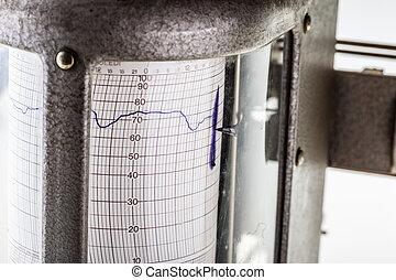 hygrometer detail - close up shot of an old vintage...