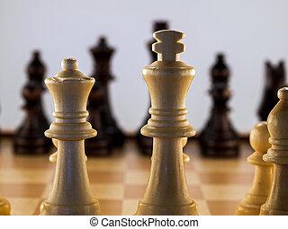 de madera, ajedrez, pedazos, de madera, tablero de ajedrez