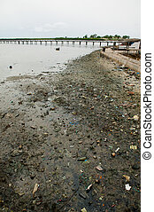 Africa Senegal river pollution soil in Joal Fadiouth