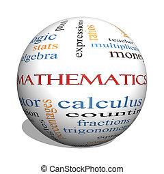 matemática, 3D, esfera, palavra, nuvem, conceito