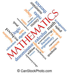 Mathematics Word Cloud Concept Angled - Mathematics Word...