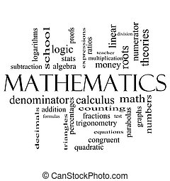 Mathematics Word Cloud Concept in black and white
