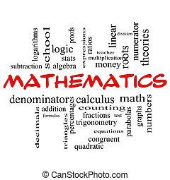 matemáticas, palabra, nube, concepto, rojo, tapas