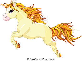 Running unicorn - Illustration of running beautiful unicorn...