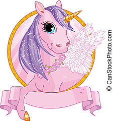 Unicorn sign - Illustration of beautiful unicorn sign