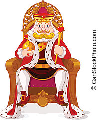 King on the throne - King sitting  on the throne